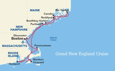 American Cruise Lines Grand New England cruise map
