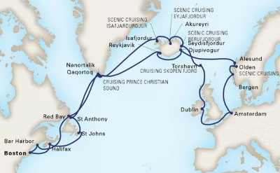 Boston to Europe cruise map